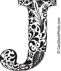 Floral J - Floral initial capital letter J