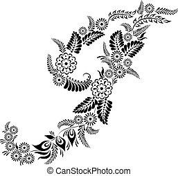 floral, j, majuscule, lettre, monogram
