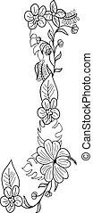 floral, j, ornamento, letra