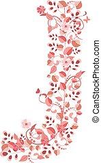 floral, j, romantique, lettre