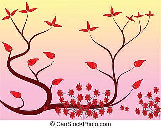 floral, japonaise, conception, résumé