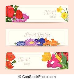 floral, jogo, de, bandeiras, para, flor, lojas, ou, convite, cartões., bonito, oriental, padrão floral, e, delicado, ornamento, vetorial, illustration., diferente, flores, tal, como, rosas, daffodil.