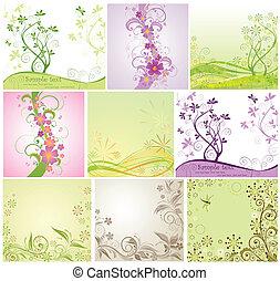 floral, jogo, design.