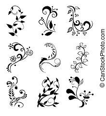 floral, jogo, elementos