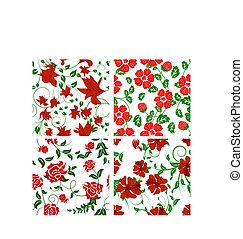 floral, jogo, fundos, seamless