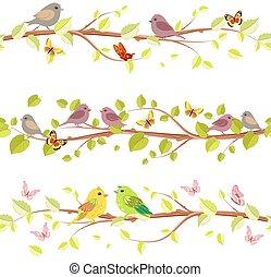 floral, jogo, seamless, fronteiras, com, cute, pássaros, para, seu, desenho