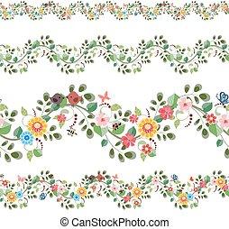 floral, jogo, seamless, fronteiras, para, seu, desenho