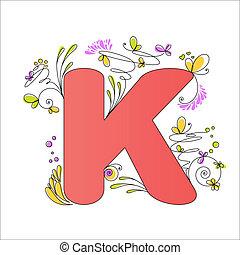 floral, k, alphabet., coloré, lettre