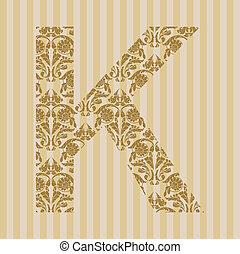 floral, k, font., lettre
