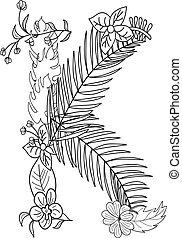 floral, k, ornement, lettre