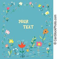 floral, kaart, met, frame, -, eenvoudig, ontwerp