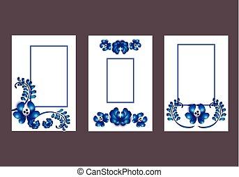 floral, kaarten, ontwerp
