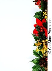 floral, kerstmis, border.