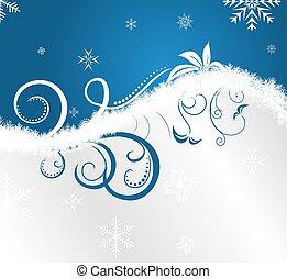 floral, kerstmis, frame