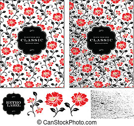 floral, klaproos, frame, vector, set