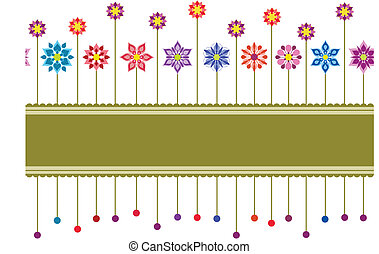 floral, kleurrijke, grens, seamless, retro
