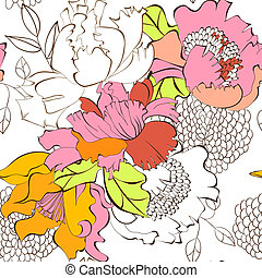 floral, kleurrijke, seamless, achtergrond