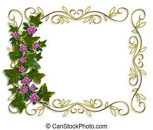 floral, klimop, grens, ontwerp