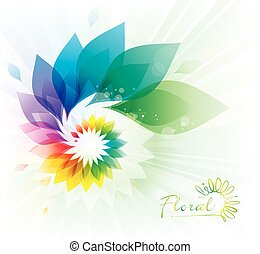 floral, kolken, kleurrijke