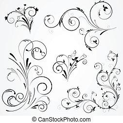 floral, kolken, ontwerpen, set