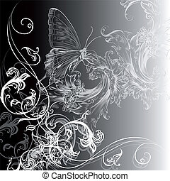 floral, kolken, vector, achtergrond