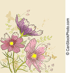 floral, kosmos, bloemen, achtergrond