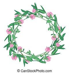 floral krans, met, klavertje, vrijstaand, op wit
