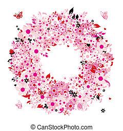 floral krans, ontwerp, jouw