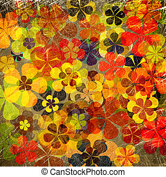 Floral, kunst,  grunge, achtergrond, ouderwetse