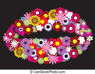 floral, lábios