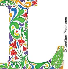 Floral L - Colorful floral initial capital letter L