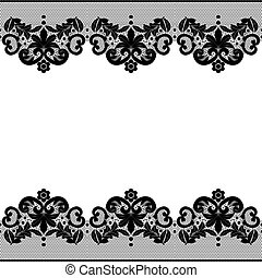 Floral lace pattern - Seamless black lace border with floral...
