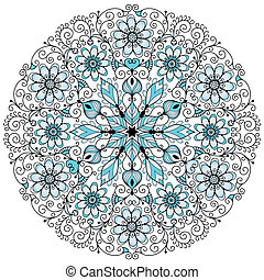 Floral lacy vintage round frame - Round blue-gray-black...