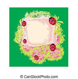 floral,  ladybugs, abstratos, fundo, família