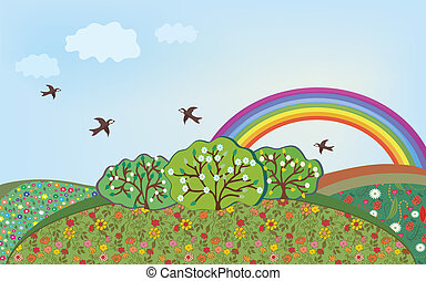 Floral landscape with rainbow cartoon