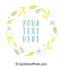Floral laurel with place for text.