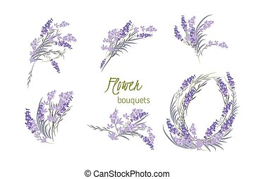 Floral lavender retro vintage background, vector...