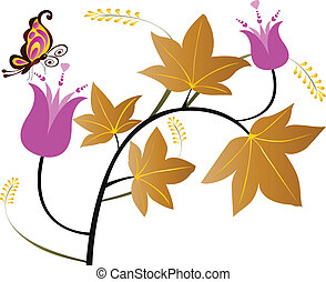 Floral leaves and butterfly