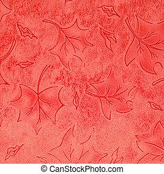 floral, leder, rood, model