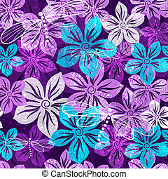 floral, lente, levendig, seamless, model