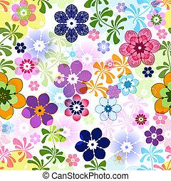 floral, lente, seamless, kleurrijke, model