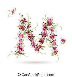 Floral letter M for your design