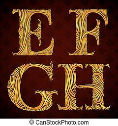Floral letters e f g h