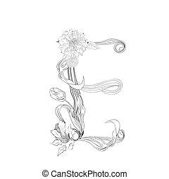 floral, lettertype, e, brief