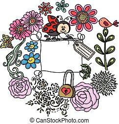 floral, lieveheersbeest, frame