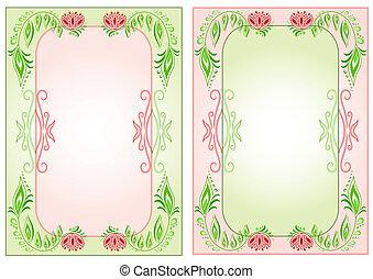 floral, lijstjes, plein, twee, verticaal