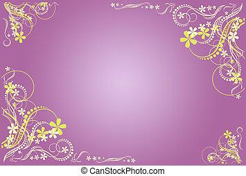floral, lila, blanco