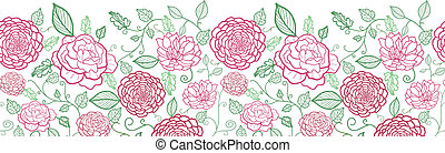 Floral line art horizontal seamless pattern background border