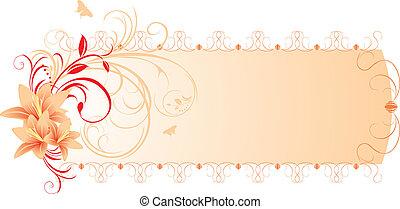 floral, lis, ornament., bannière