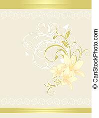 floral, lis, ornament., carte